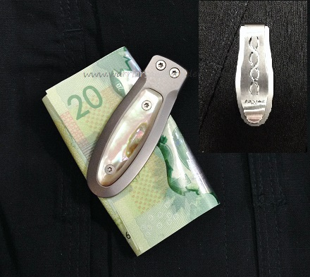 Lion Steel Money Clip Titanium with Mother Of Pearl