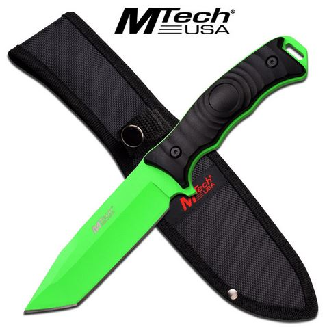 "MTech 2070TG Fixed Blade 5"" Tanto - Neon Green (Online Only)"