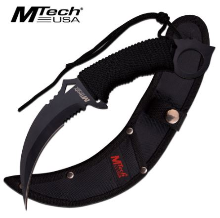 Mtech MT2076BK Fixed Blade Karambit w/Nylon Sheath (Online Only)