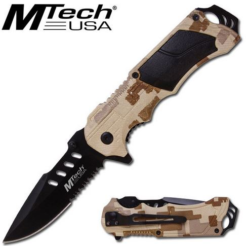 MTech 594CA Black Serrated - Desert Camo (Online Only)