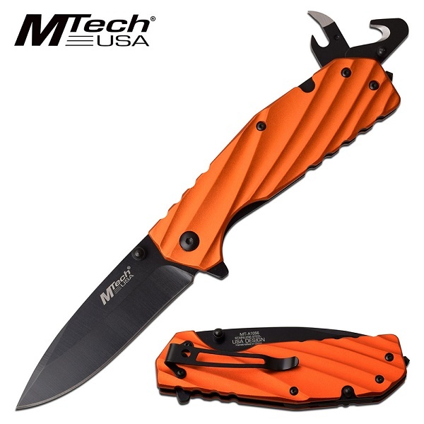 Mtech Knives Linerlock Flipper Orange Aluminum, Assisted Opening, MTA1056OR