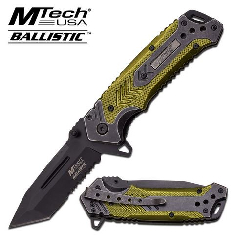 MTech A857GN Tanto Green Aluminum Handle Assisted (Online Only)