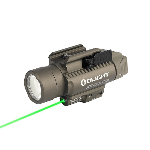 Olight BALDR Pro Desert Tan Tactical Light w/ 5mW Green Laser - 1350 Lumens