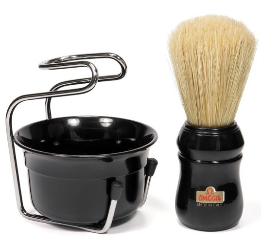 Omega Italy Professional Brush & Bowl Shaving Set -Black 49.18