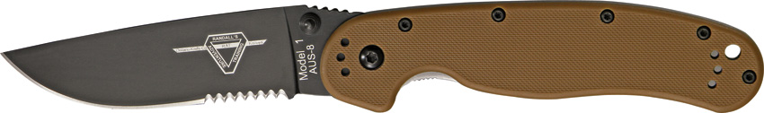 OKC 8847CB RAT 1 Black Partially Serrated - Coyote Handle