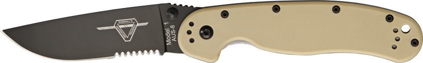 OKC 8847DT RAT 1 Black Partially Serrated - Tan Handle