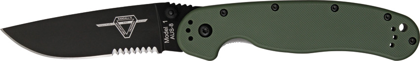 OKC 8847OD RAT 1 Black Partially Serrated - OD Handle