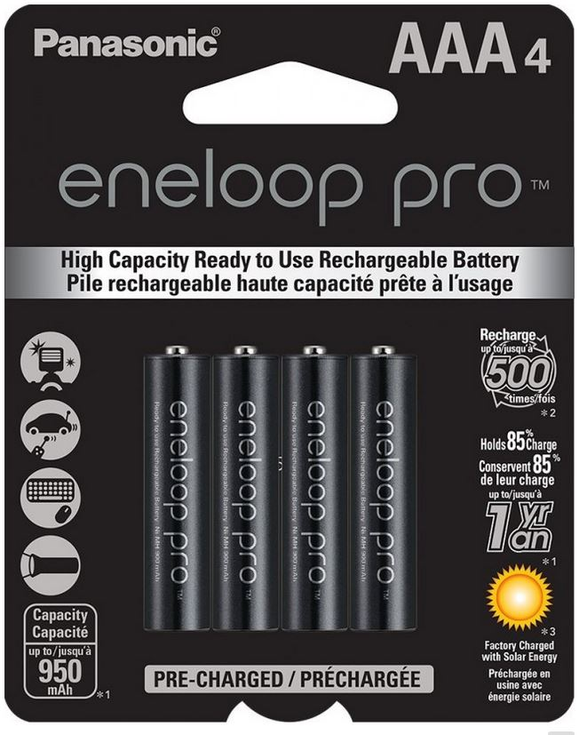 Panasonic Eneloop Pro AAA Rechargeable Battery (4 Pack) 950 mAh