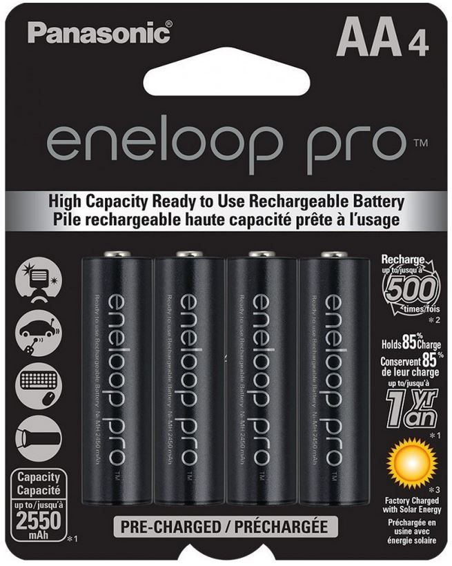 Panasonic Eneloop Pro AA Rechargeable Battery (4 Pack) 2550 mAh