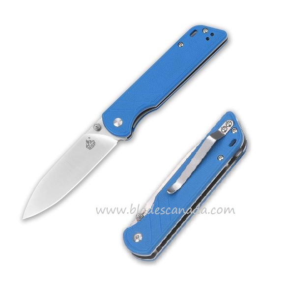 QSP Knife Parrot 440C Folder, Blue G-10 Handle QS102-D