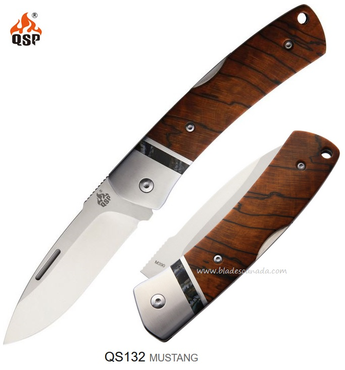 QSP Knife Mustang M390 Folder, Raffir Mammoth Fossil Handle QS132