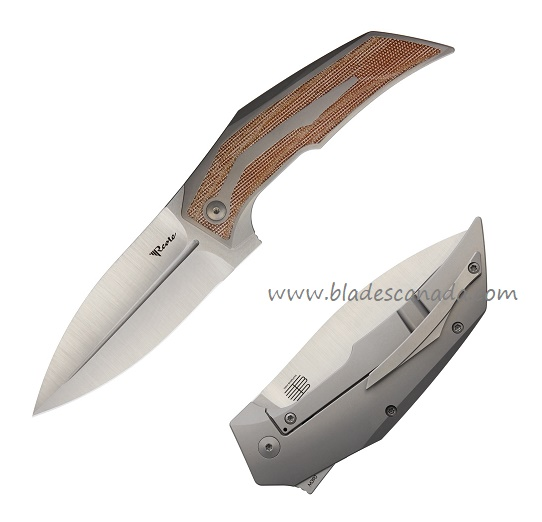 Reate T4000 M390 Satin, Brown Micarta Titanium Framelock Folder