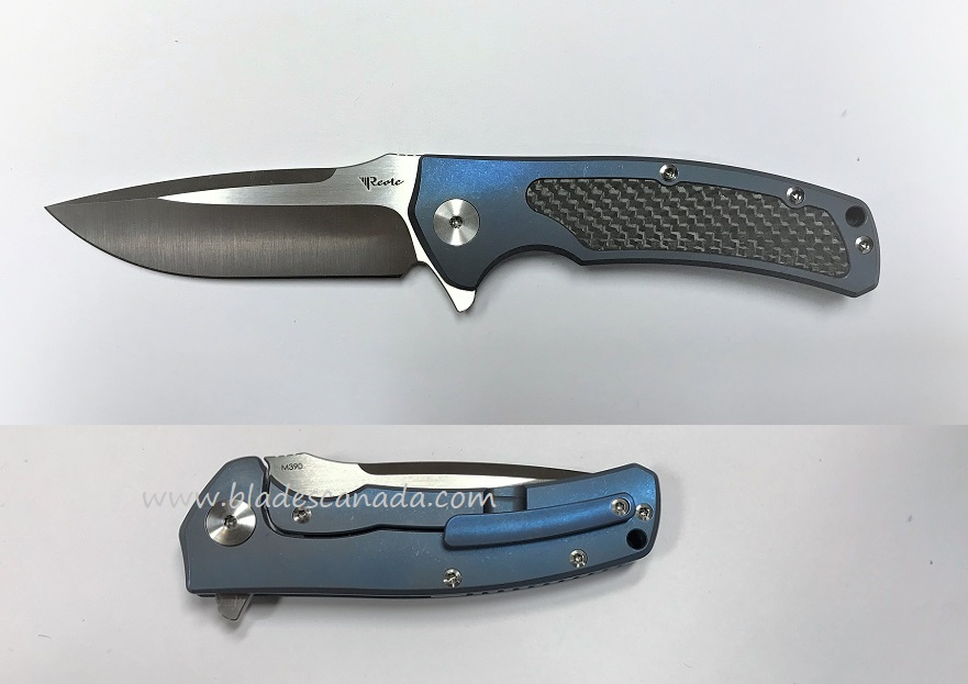 Reate Mini Horizon-D M390 Blue/Carbon Fiber - Satin Blade
