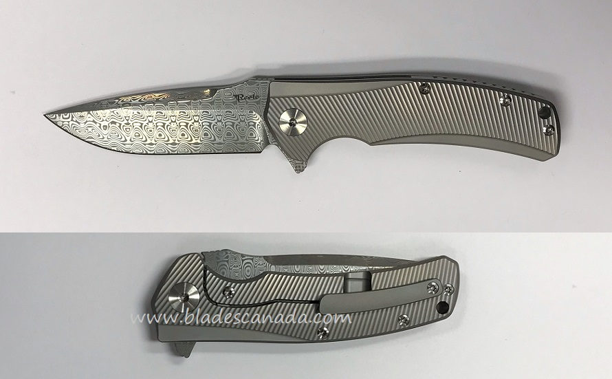 Reate Mini Horizon-D Damascus - Bead Blast Milled Handle