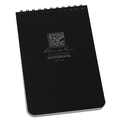 Rite in the Rain 746 Pocket Top Spiral Notebook - Black