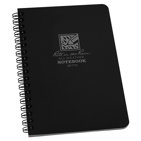 Rite in the Rain 773 Side Spiral Notebook- Black