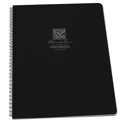 Rite in the Rain 773-MX Maxi Side Spiral Notebook- Black