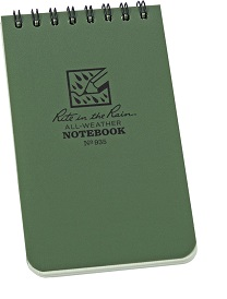 Rite in the Rain 935 Spiral 3x5 Weatherproof Notebook - Green