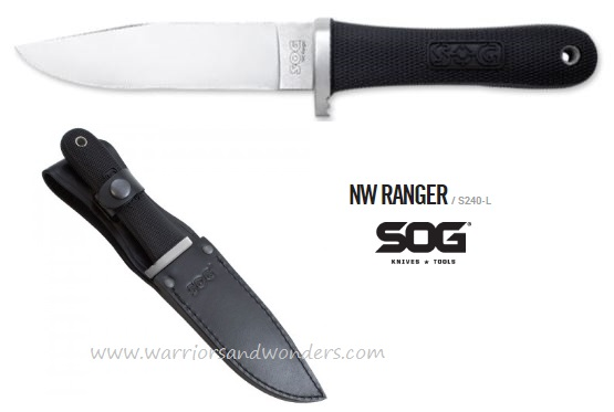 SOG S240 Northwest Ranger Satin w/ Leather Sheath (Online Only)