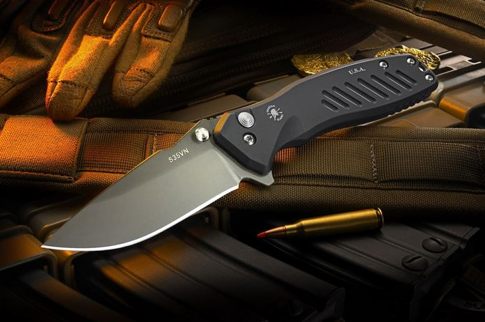 Spartan Blades Pallas Button Lock Drop Point Black