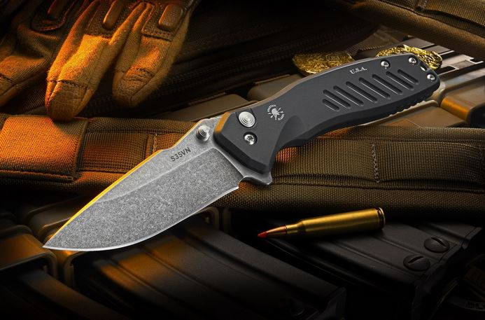 Spartan Blades Pallas Button Lock Drop Point Stonewash