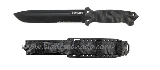 Schrade F40L Large Fixed Blade Black w/ MOLLE Sheath