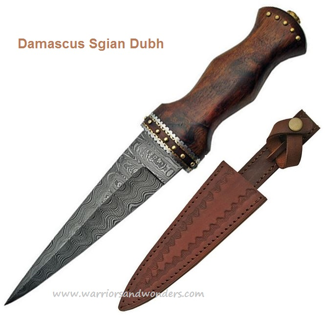 Damascus 1076 Sgian Dubh w/ Leather Sheath