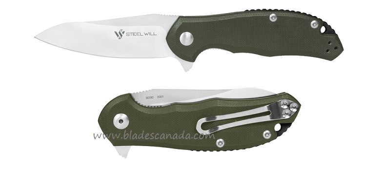 Steel Will F25-32 Modus M390 Flipper - OD Green G10