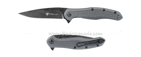 Steel Will F45M-15 Intrigue Mini D2 Black Stonewash- Grey