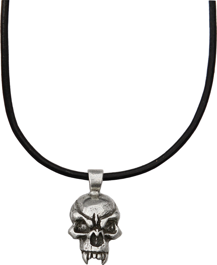 Schmuckatelli Co. Fang Skull Necklace Pewter