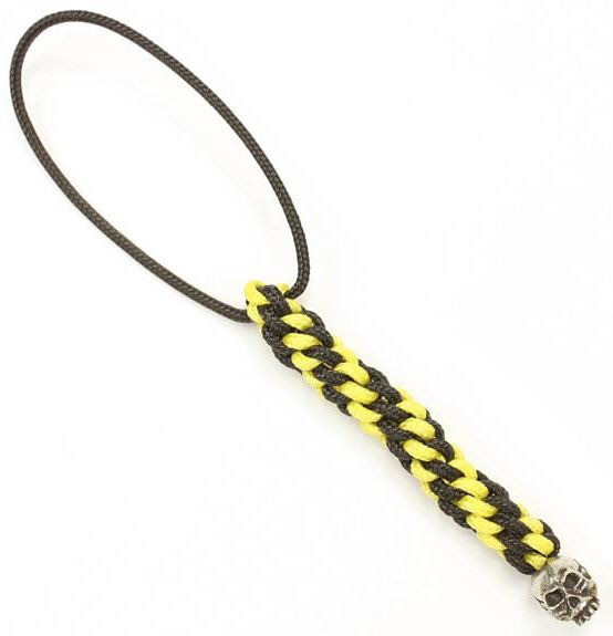 Schmuckatelli Co. Joe Mini Bead Pewter - Black/Yellow Lanyard