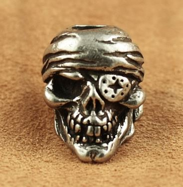 Schmuckatelli Co. One-Eyed Jack Skull Bead Pewter