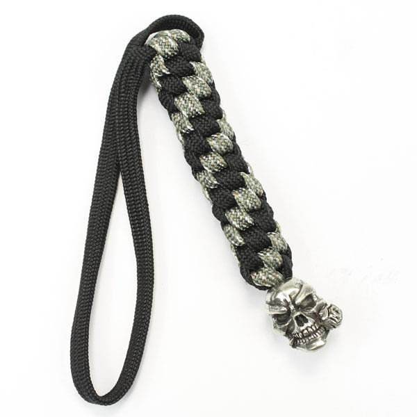 Schmuckatelli Co. Rose Skull Bead Pewter with Digi Lanyard
