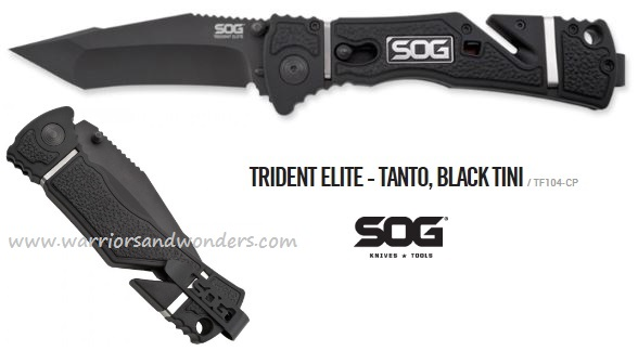 SOG TF104 Trident Elite Tanto Black TiNi Assisted (Online Only)