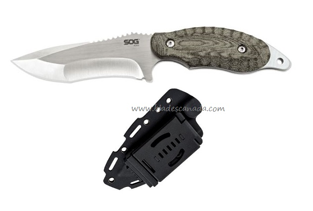 "SOG KU2021 KIKU Fixed 4"" Satin w/ Kydex Sheath"