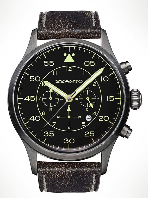 Szanto 2601 Classic Military Pilot Chrono - Plated Gunmetal Grey