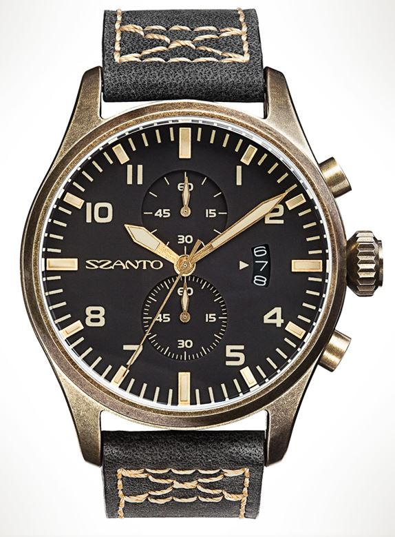 Szanto 4001 Distressed Bronze Finish - Black Dial