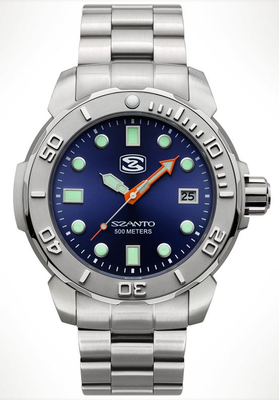Szanto 5123 Dive Series Steel Bracelet - Silver and Blue