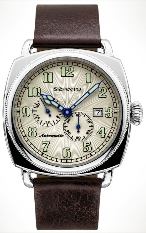 Szanto 6203 Officer's Coin Cushion Automatic - Brown and Ivory