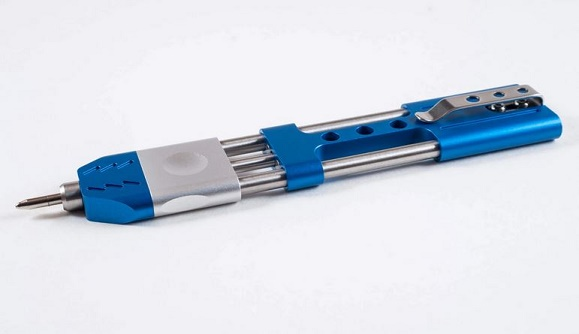 TEC Accessories Ko-Axis Pen Aluminum Silver Grip - Blue