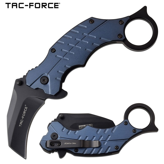 Tac Force TF-1020BL Assisted Open Karambit, Aluminum Handle - Blue