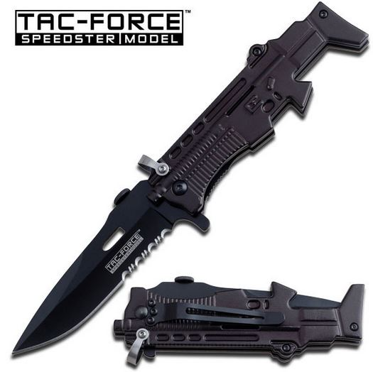 Tac Force TF767BK Black Partially Serrated (Online Only)