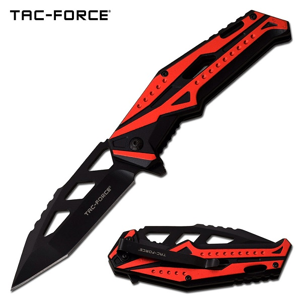 Tac Force Flipper Folding Knife, Red Aluminum Handle, Assisted Opening, TF996RD