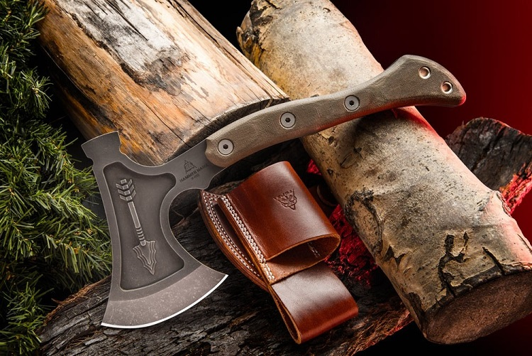 TOPS HAMH-01 Hammer Hawk Tomahawk & Backup w/ Leather Cover