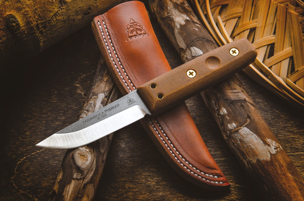 TOPS Tanimboca Puukko Tan Micarta w/ Leather Sheath