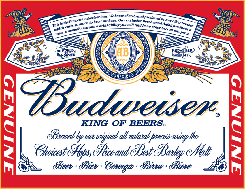 Tin Sign 0979 Budweiser Label