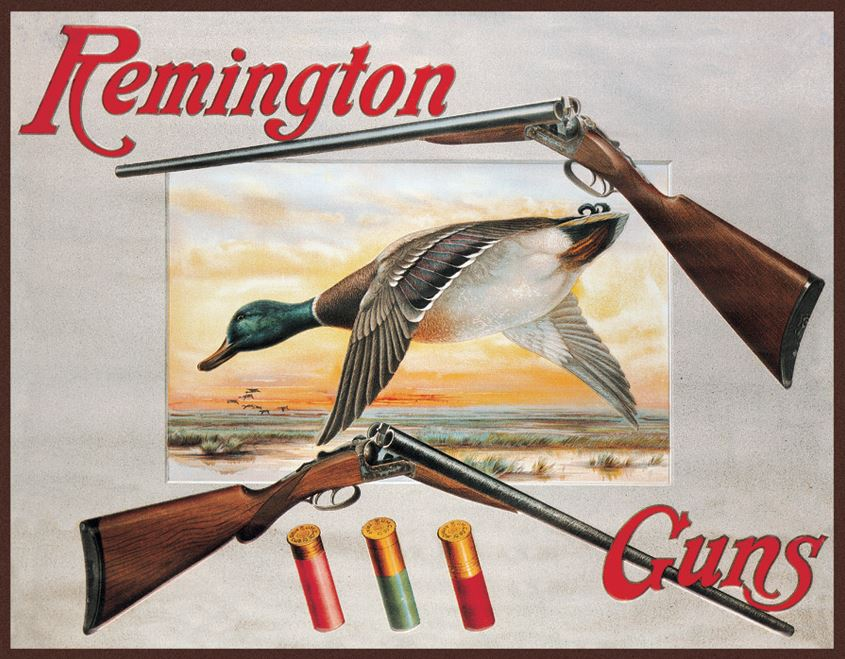 Tin Sign 1002 Remington - Shotgun and Ducks