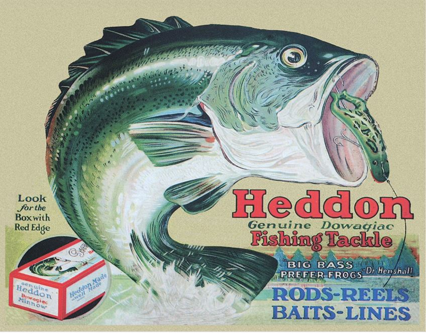 Tin Sign 1005 Heddon's Frogs