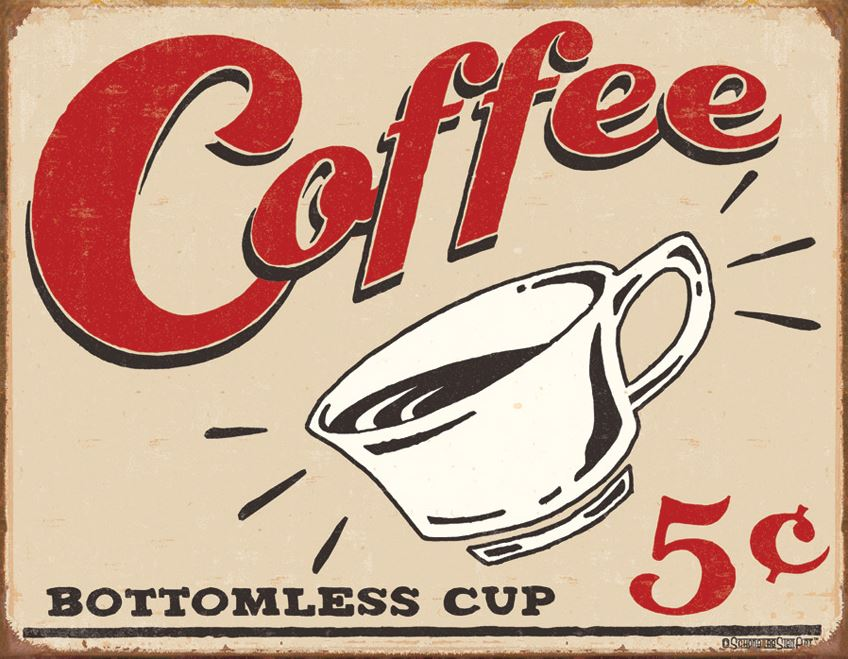 Tin Sign 1178 Coffe 5 Cents