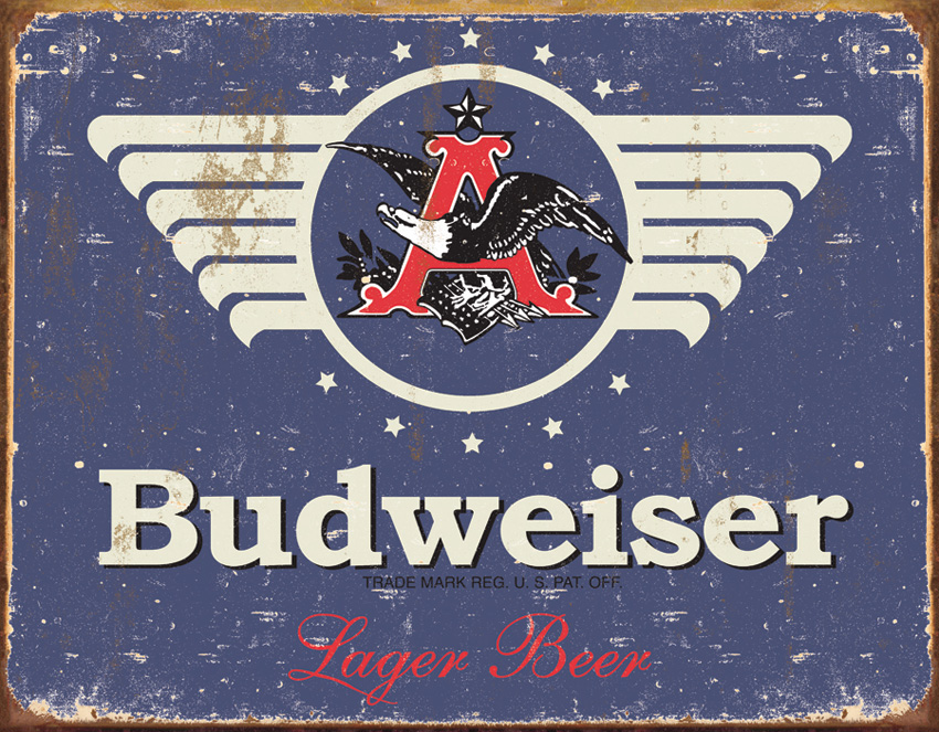 Tin Sign 1383 Budweiser - 1936 Weathered